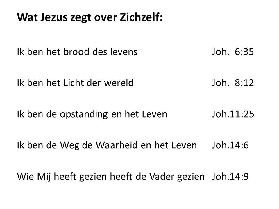 Wat Jezus zegt over Zichzelf: Ik ben het brood des levensJoh. 6:35 Ik ben het Licht der wereldJoh. 8:12 Ik ben de opstanding en het Leven Joh.11:25 Ik