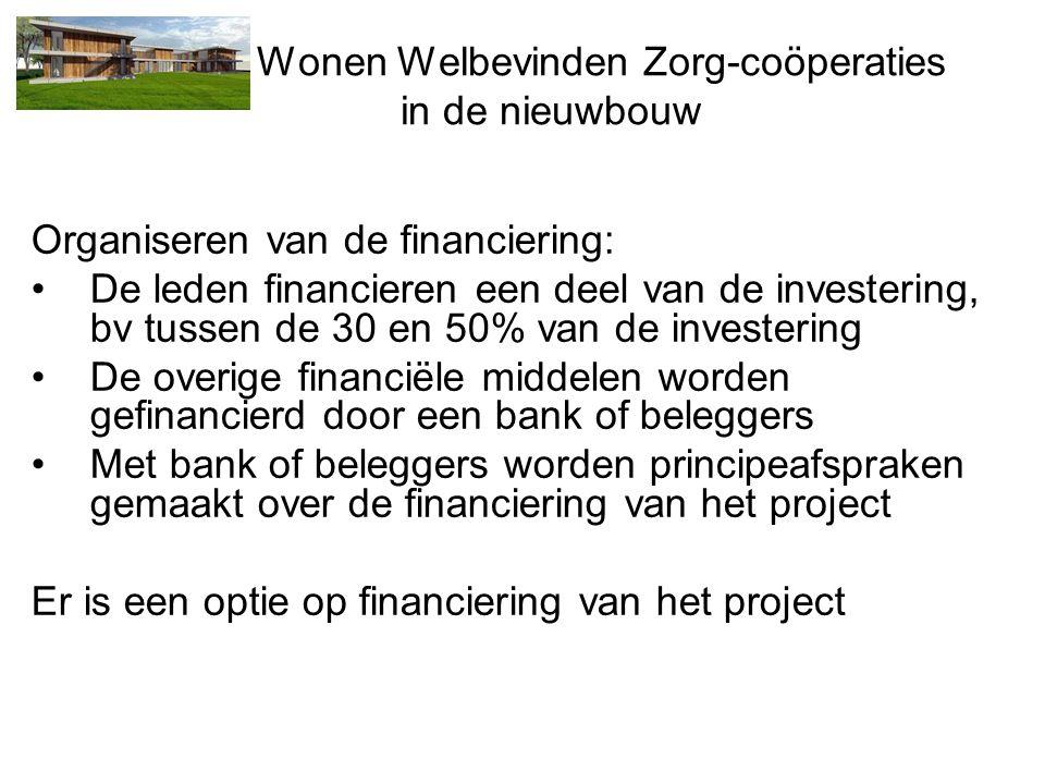 Wonen Welbevinden Zorg-coöperaties in de nieuwbouw Organiseren van de financiering: •De leden financieren een deel van de investering, bv tussen de 30