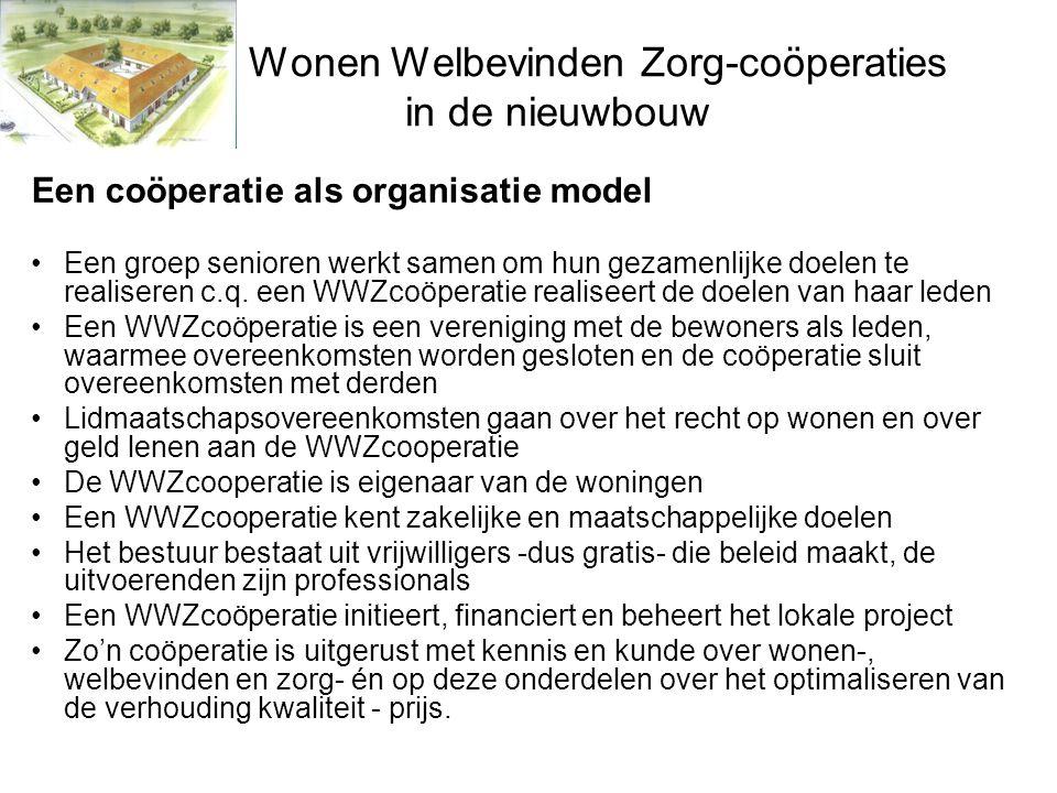 Wonen Welbevinden Zorg-coöperaties in de nieuwbouw Een coöperatie als organisatie model •Een groep senioren werkt samen om hun gezamenlijke doelen te