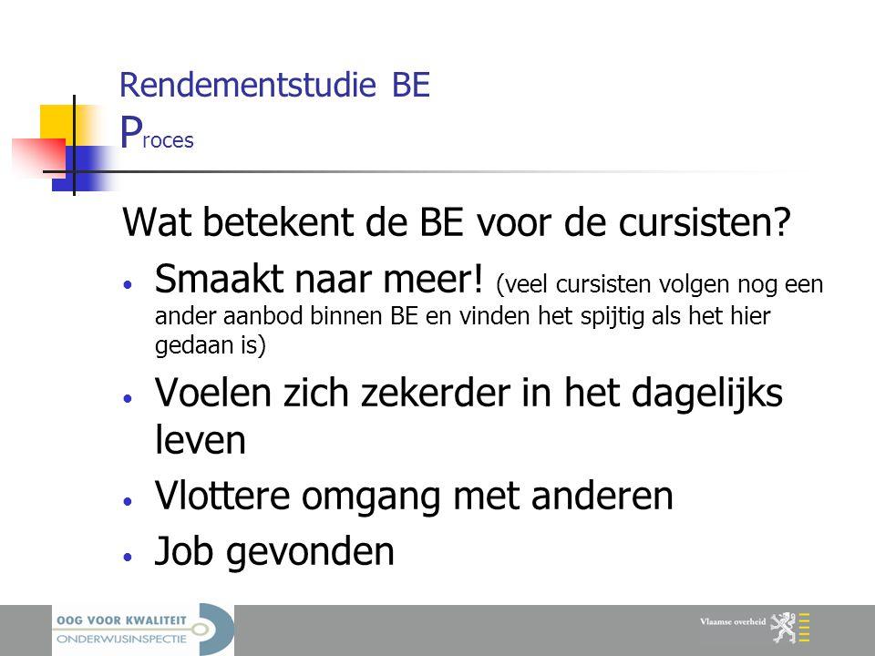 Rendementstudie BE P roces Wat betekent de BE voor de cursisten.