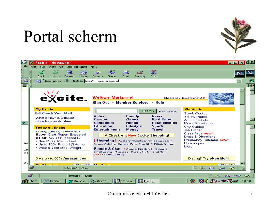 Communiceren met Internet7 Portal scherm
