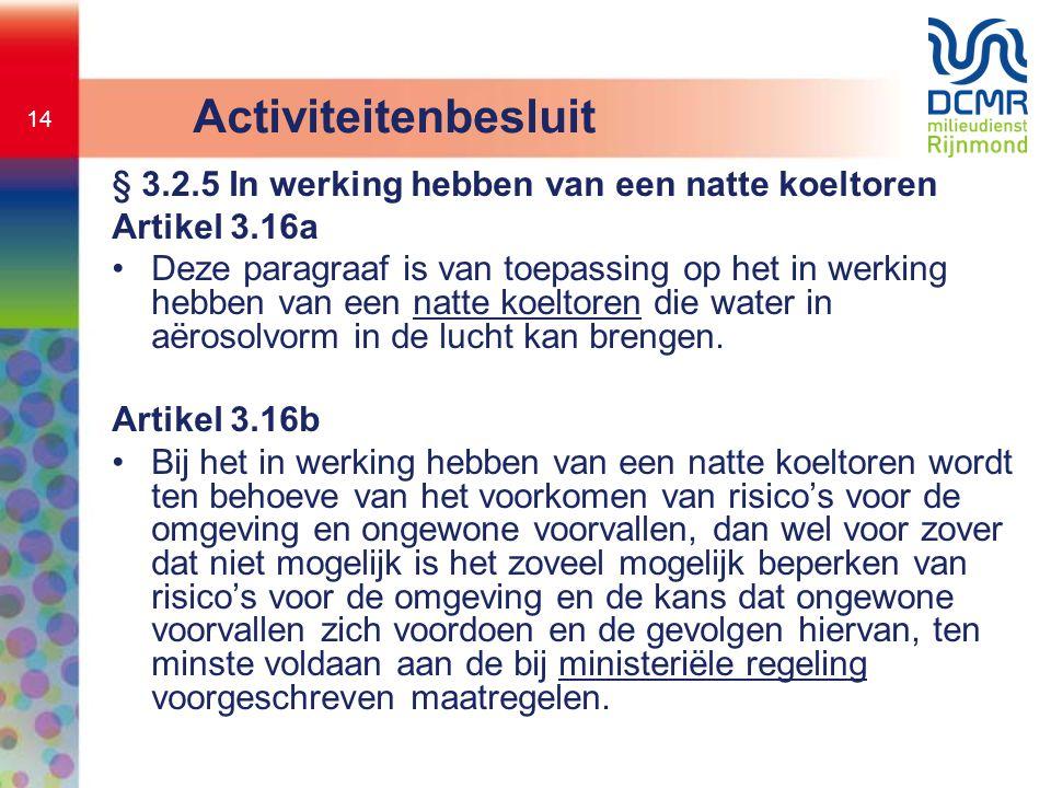 14 Activiteitenbesluit § 3.2.5 In werking hebben van een natte koeltoren Artikel 3.16a •Deze paragraaf is van toepassing op het in werking hebben van