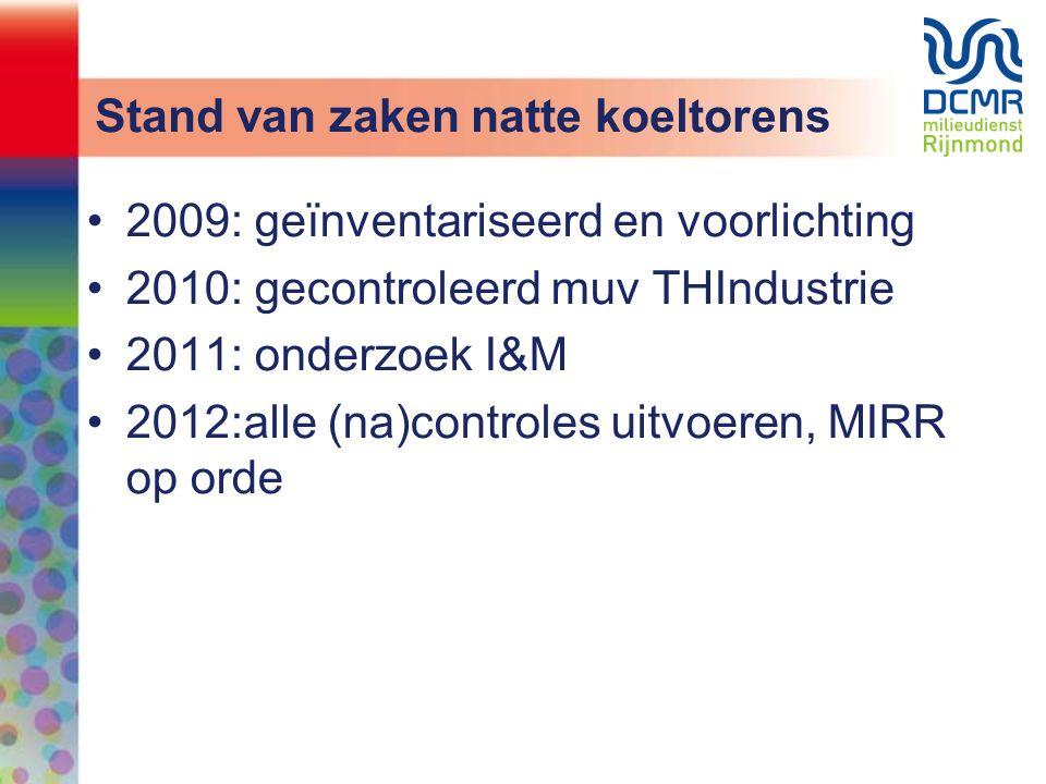 Stand van zaken natte koeltorens •2009: geïnventariseerd en voorlichting •2010: gecontroleerd muv THIndustrie •2011: onderzoek I&M •2012:alle (na)cont