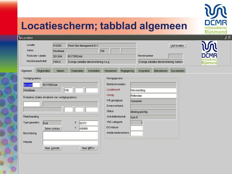 Locatiescherm; tabblad algemeen