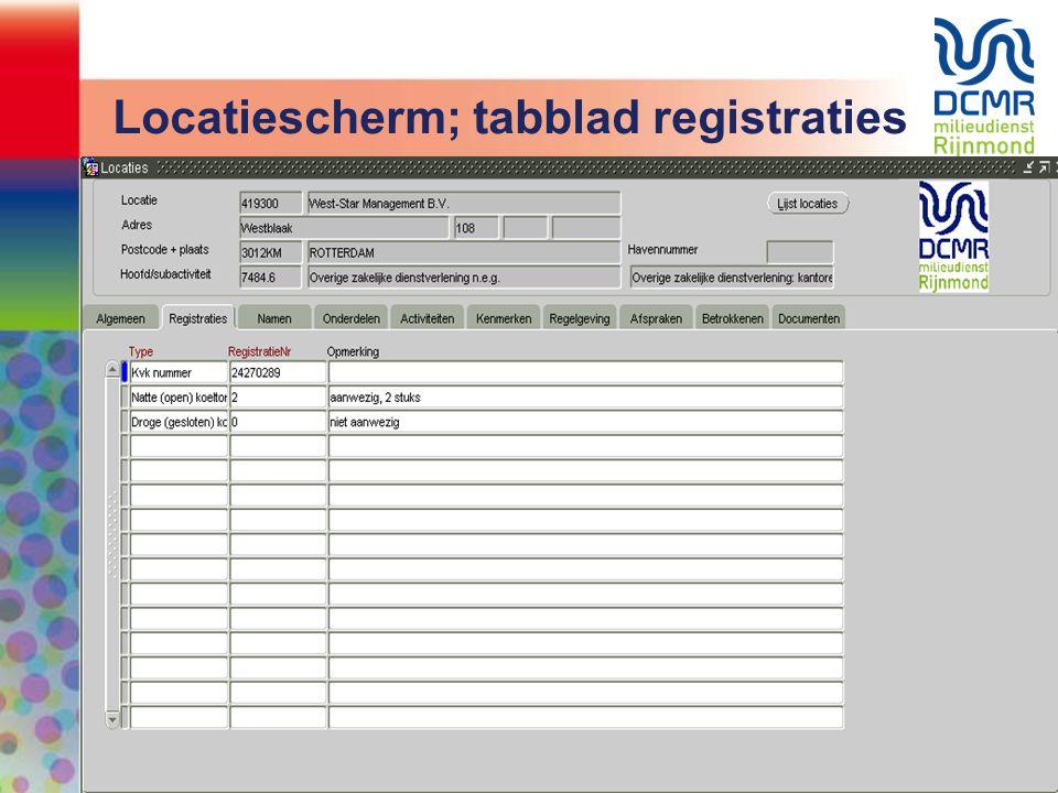 Locatiescherm; tabblad registraties