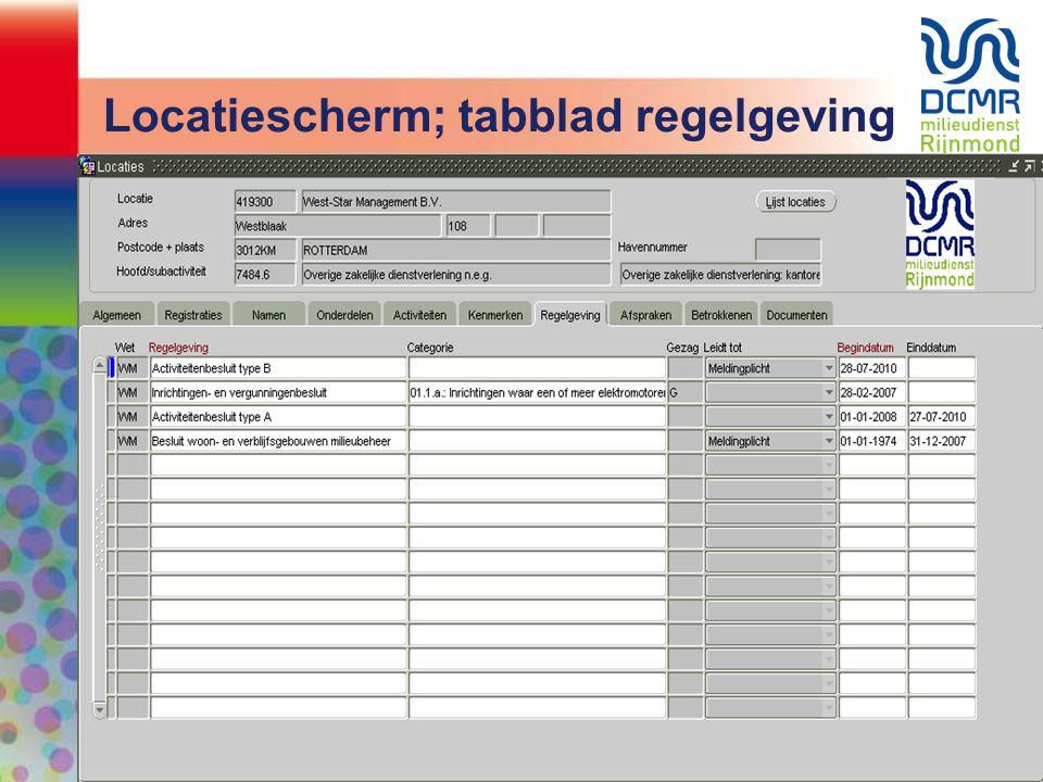 Locatiescherm; tabblad regelgeving