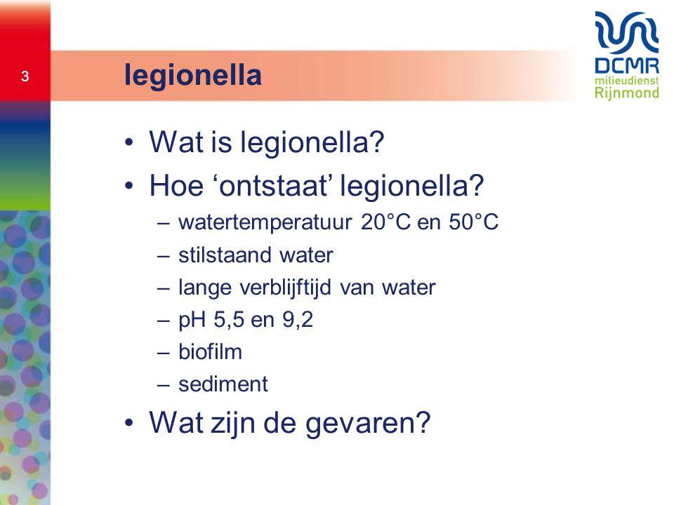 3 legionella •Wat is legionella? •Hoe 'ontstaat' legionella? –watertemperatuur 20°C en 50°C –stilstaand water –lange verblijftijd van water –pH 5,5 en
