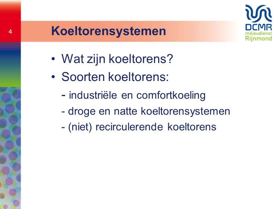 4 Koeltorensystemen •Wat zijn koeltorens? •Soorten koeltorens: - industriële en comfortkoeling - droge en natte koeltorensystemen - (niet) recirculere