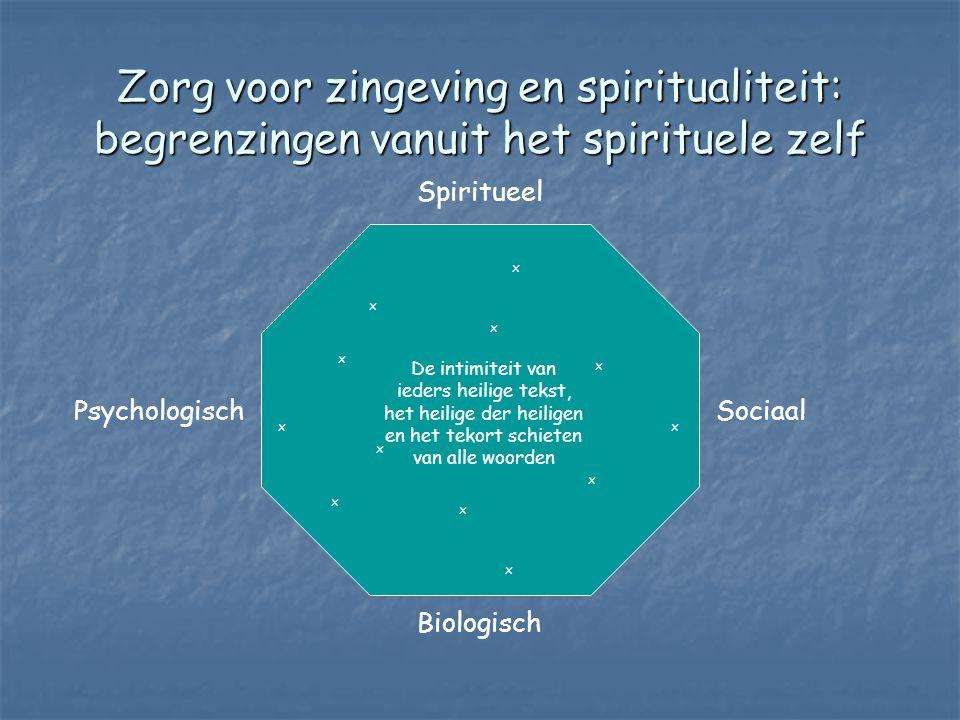Zorg voor zingeving en spiritualiteit: begrenzingen vanuit het spirituele zelf Spiritueel Biologisch PsychologischSociaal De intimiteit van ieders heilige tekst, het heilige der heiligen en het tekort schieten van alle woorden x x x x x x x x x x x x