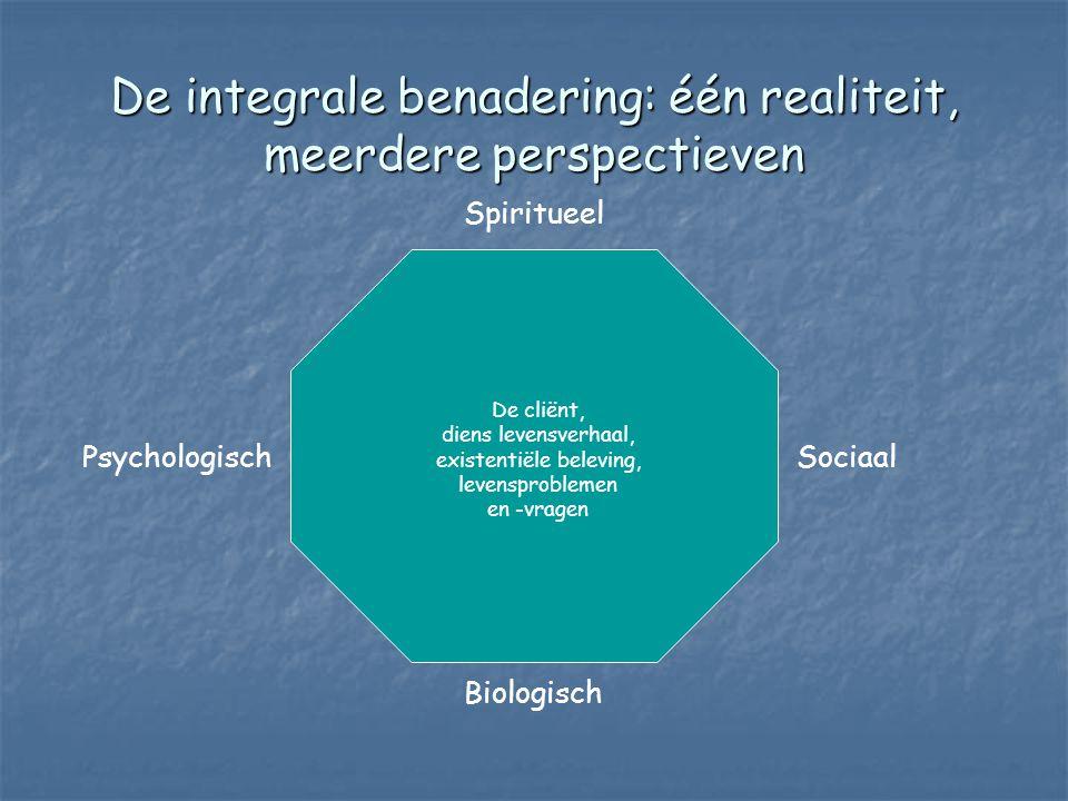 De integrale benadering: één realiteit, meerdere perspectieven Spiritueel Biologisch PsychologischSociaal De cliënt, diens levensverhaal, existentiële beleving, levensproblemen en -vragen