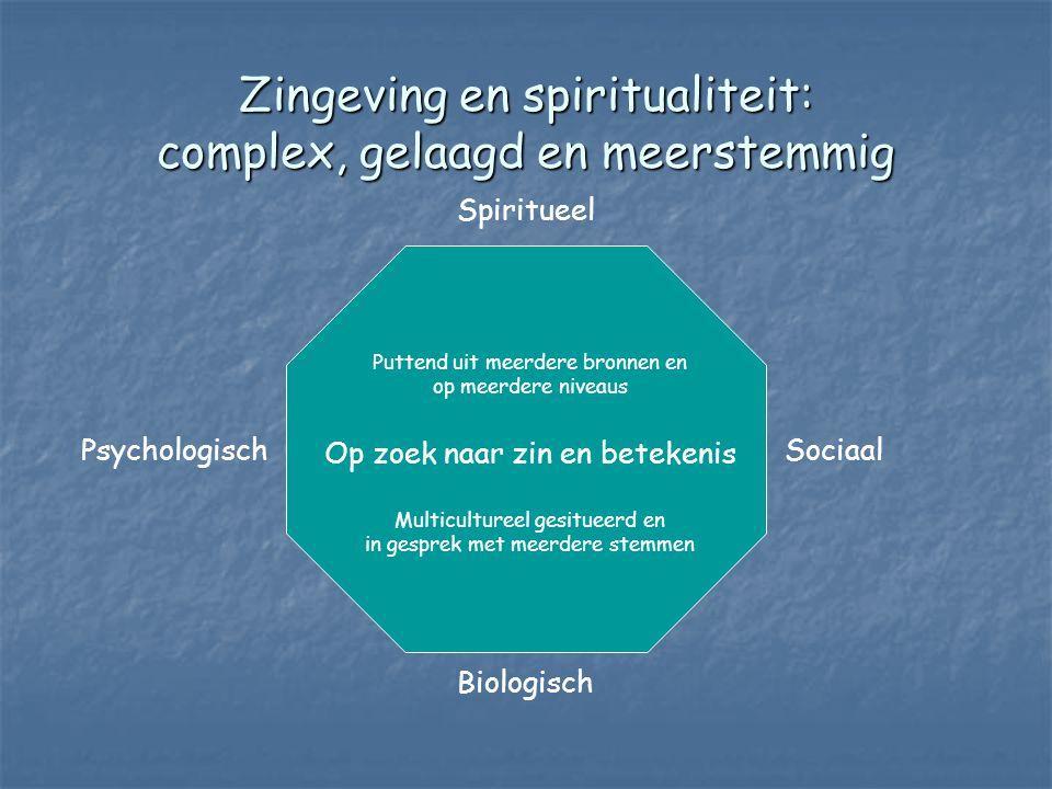Zingeving en spiritualiteit: complex, gelaagd en meerstemmig Spiritueel Biologisch PsychologischSociaal Puttend uit meerdere bronnen en op meerdere niveaus Op zoek naar zin en betekenis Multicultureel gesitueerd en in gesprek met meerdere stemmen