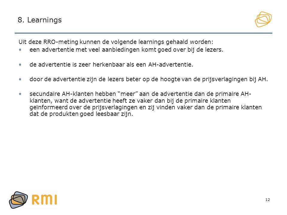 12 8. Learnings Uit deze RRO-meting kunnen de volgende learnings gehaald worden: •een advertentie met veel aanbiedingen komt goed over bij de lezers.