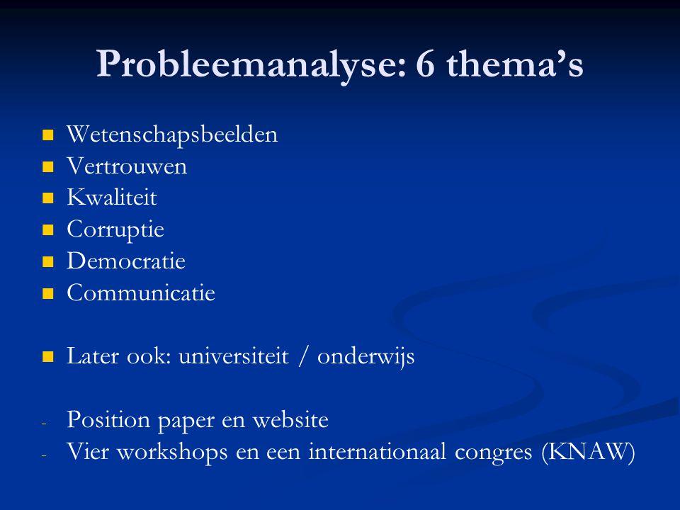 Probleemanalyse: 6 thema's   Wetenschapsbeelden   Vertrouwen   Kwaliteit   Corruptie   Democratie   Communicatie   Later ook: universite