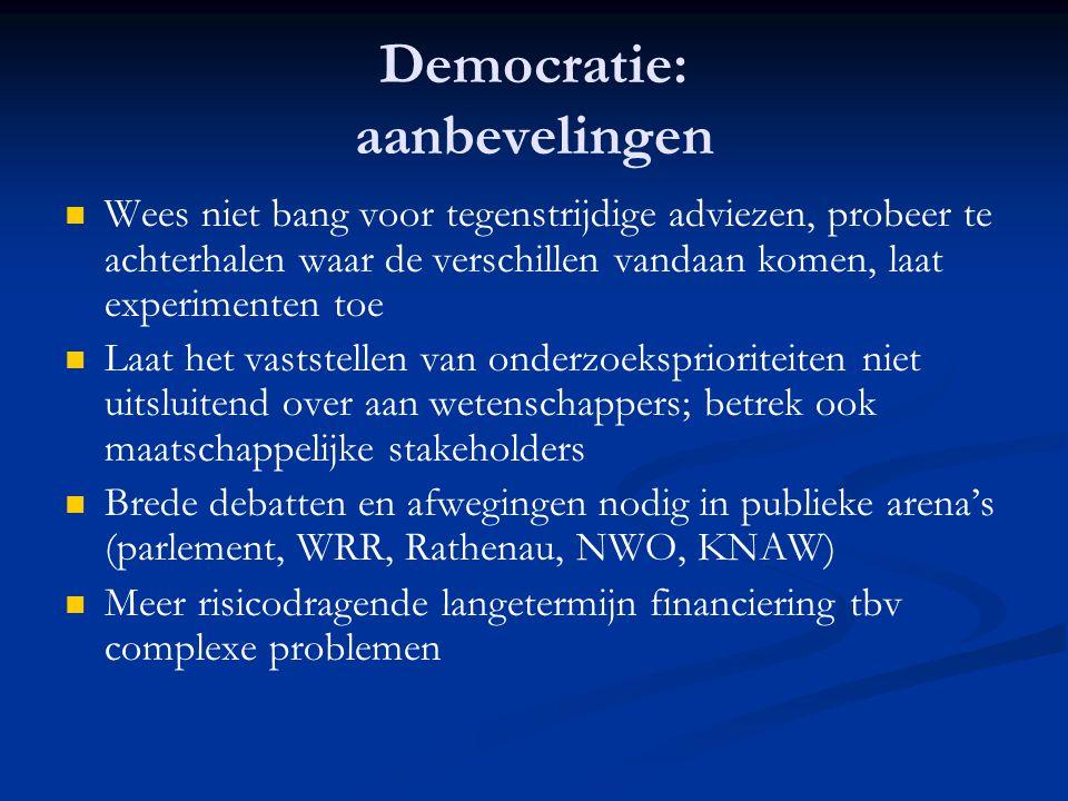 Democratie: aanbevelingen   Wees niet bang voor tegenstrijdige adviezen, probeer te achterhalen waar de verschillen vandaan komen, laat experimenten