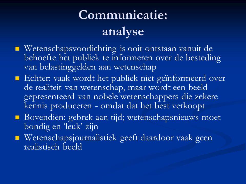 Communicatie: analyse   Wetenschapsvoorlichting is ooit ontstaan vanuit de behoefte het publiek te informeren over de besteding van belastinggelden