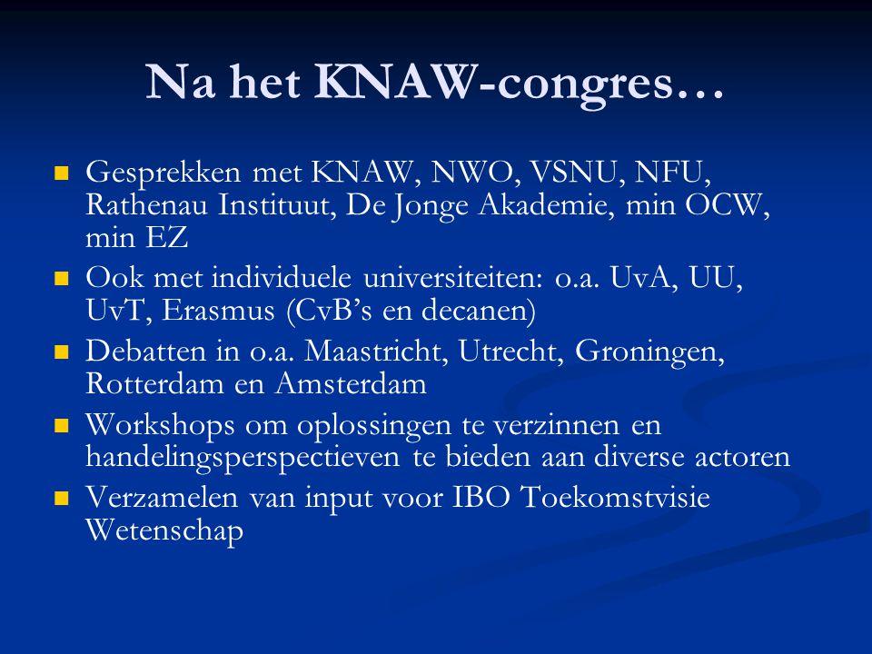 Na het KNAW-congres…   Gesprekken met KNAW, NWO, VSNU, NFU, Rathenau Instituut, De Jonge Akademie, min OCW, min EZ   Ook met individuele universit