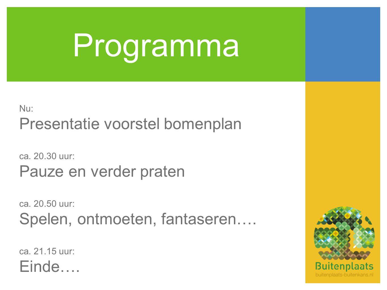 Programma Nu: Presentatie voorstel bomenplan ca.20.30 uur: Pauze en verder praten ca.