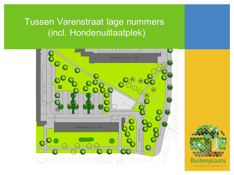 Tussen Varenstraat lage nummers (incl. Hondenuitlaatplek)