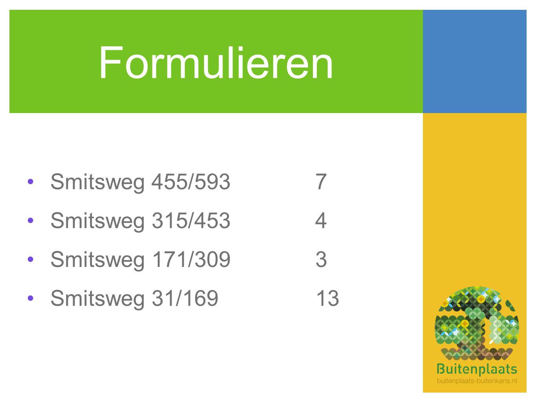 Formulieren •Smitsweg 455/5937 •Smitsweg 315/4534 •Smitsweg 171/3093 •Smitsweg 31/16913