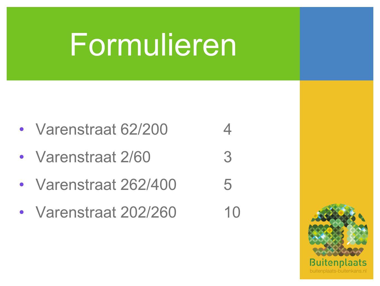 Formulieren •Varenstraat 62/2004 •Varenstraat 2/603 •Varenstraat 262/4005 •Varenstraat 202/26010