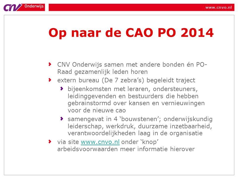 www.cnvo.nl Op naar de CAO PO 2014 CNV Onderwijs samen met andere bonden én PO- Raad gezamenlijk leden horen extern bureau (De 7 zebra's) begeleidt tr