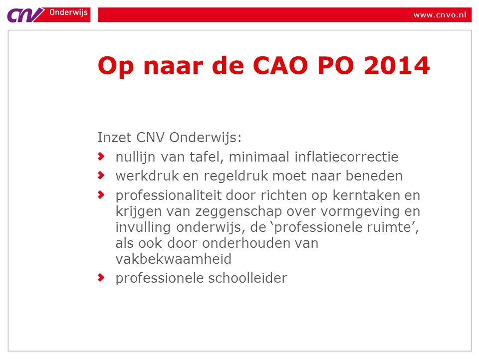 Op naar de CAO PO 2014 Inzet CNV Onderwijs: nullijn van tafel, minimaal inflatiecorrectie werkdruk en regeldruk moet naar beneden professionaliteit do