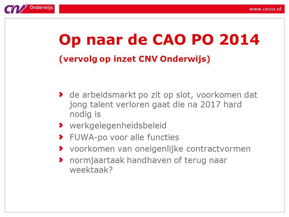 www.cnvo.nl Op naar de CAO PO 2014 (vervolg op inzet CNV Onderwijs) de arbeidsmarkt po zit op slot, voorkomen dat jong talent verloren gaat die na 201