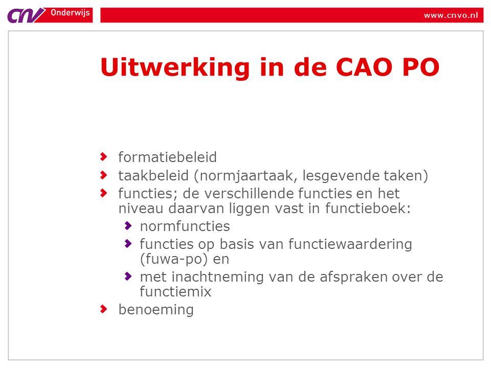 www.cnvo.nl Uitwerking in de CAO PO formatiebeleid taakbeleid (normjaartaak, lesgevende taken) functies; de verschillende functies en het niveau daarv