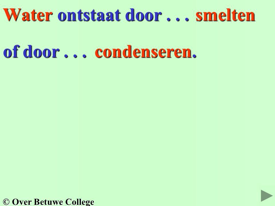 Water ontstaat door... of door... smelten condenseren. © Over Betuwe College