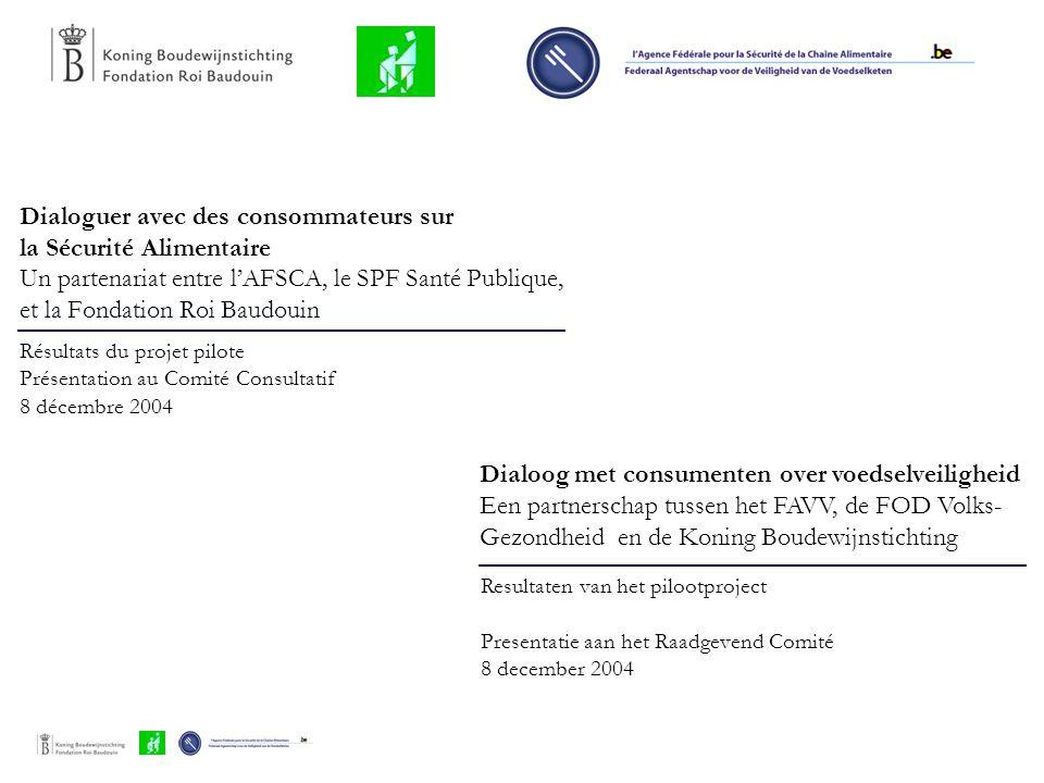 Dialoguer avec des consommateurs sur la Sécurité Alimentaire Un partenariat entre l'AFSCA, le SPF Santé Publique, et la Fondation Roi Baudouin Résulta