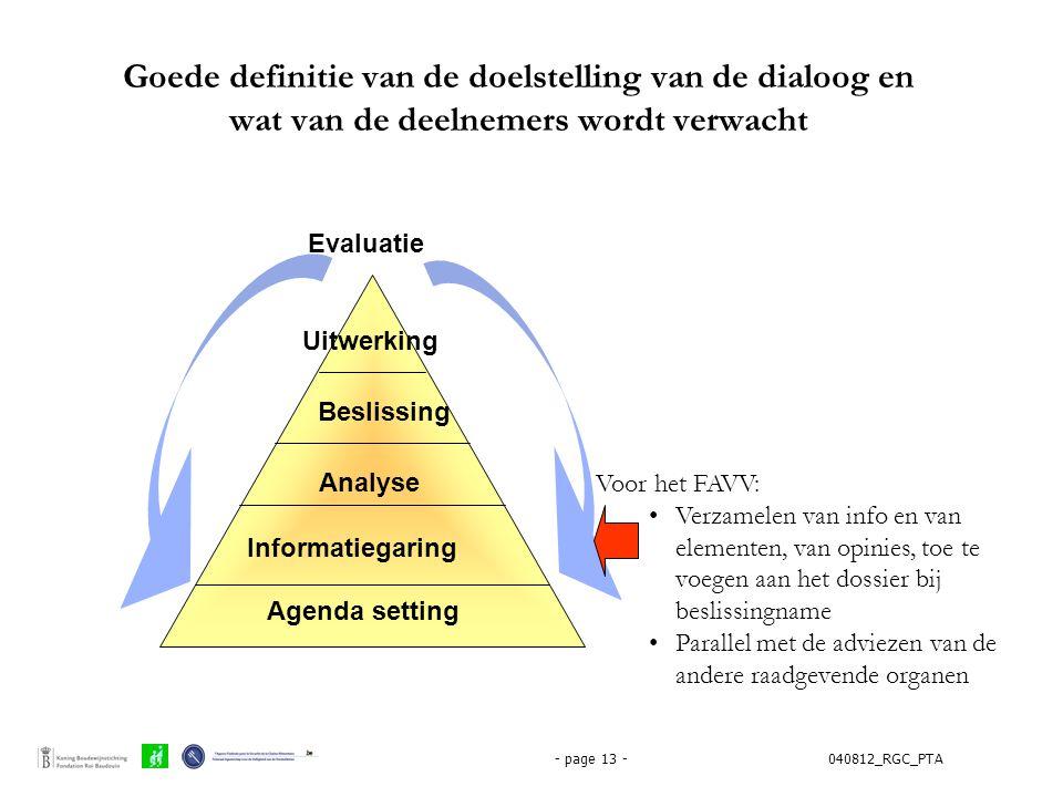 040812_RGC_PTA- page 13 - Goede definitie van de doelstelling van de dialoog en wat van de deelnemers wordt verwacht Agenda setting Informatiegaring A