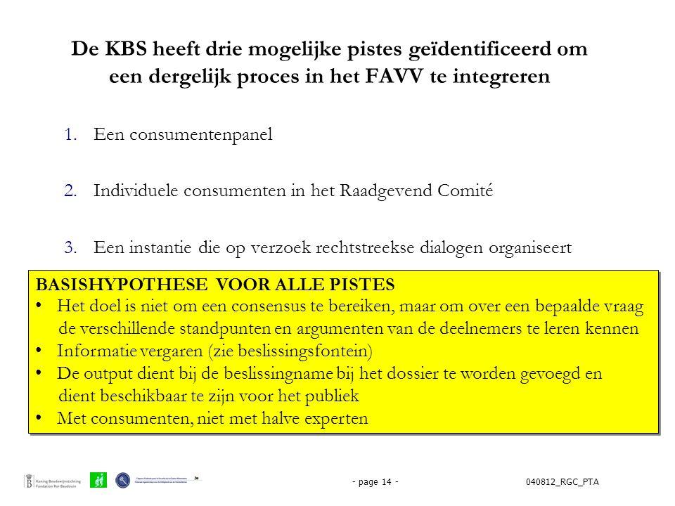 040812_RGC_PTA- page 14 - De KBS heeft drie mogelijke pistes geïdentificeerd om een dergelijk proces in het FAVV te integreren 1.Een consumentenpanel