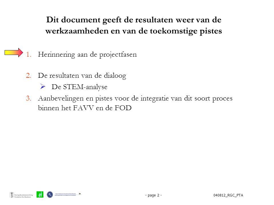 040812_RGC_PTA- page 2 - Dit document geeft de resultaten weer van de werkzaamheden en van de toekomstige pistes 1.Herinnering aan de projectfasen 2.D