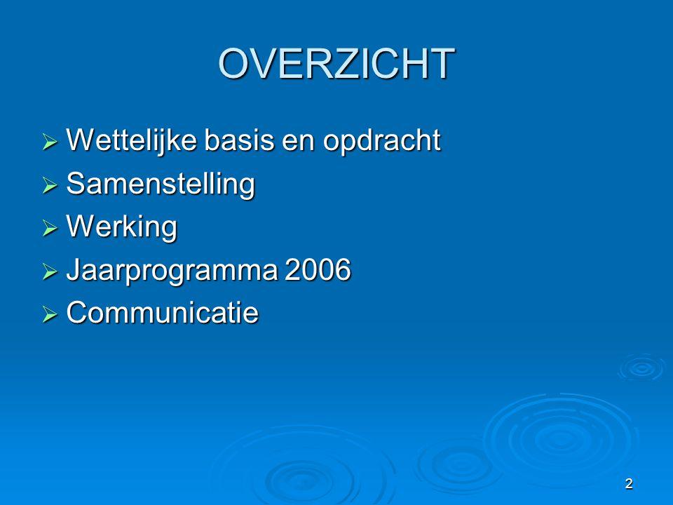 2 OVERZICHT  Wettelijke basis en opdracht  Samenstelling  Werking  Jaarprogramma 2006  Communicatie