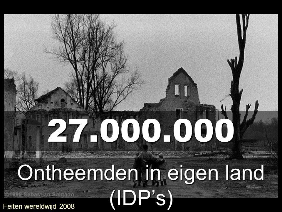 27.000.000 Ontheemden in eigen land (IDP's) Feiten wereldwijd 2008