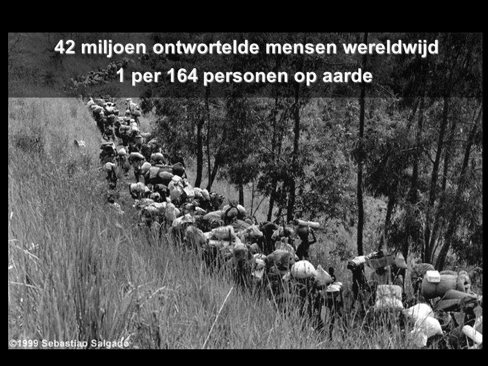 42 miljoen ontwortelde mensen wereldwijd 42 miljoen ontwortelde mensen wereldwijd 1 per 164 personen op aarde