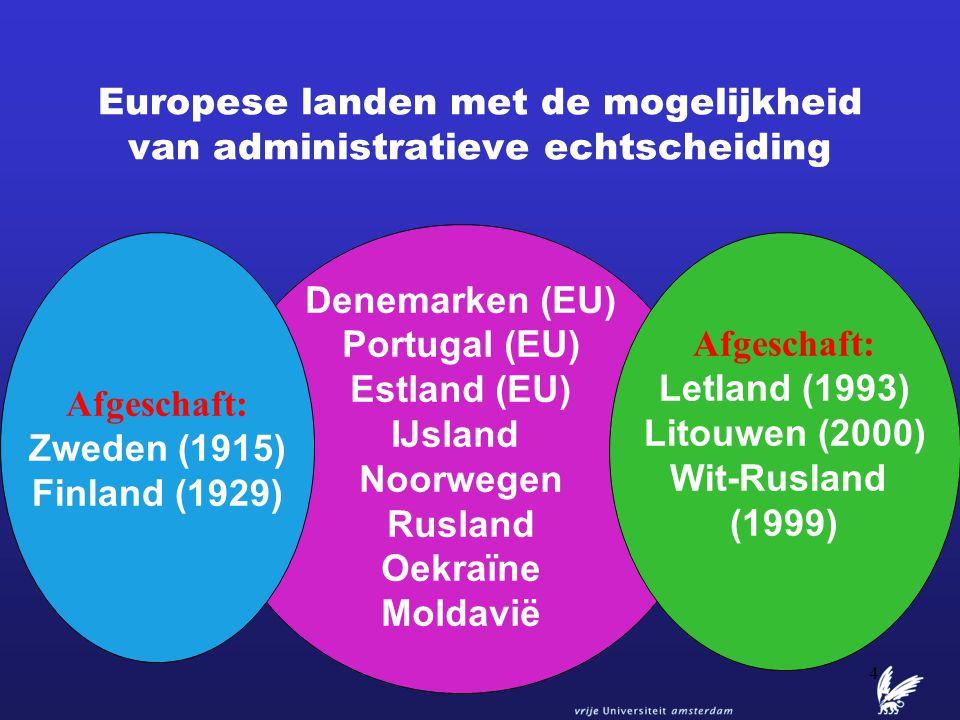 4 Europese landen met de mogelijkheid van administratieve echtscheiding Denemarken (EU) Portugal (EU) Estland (EU) IJsland Noorwegen Rusland Oekraïne