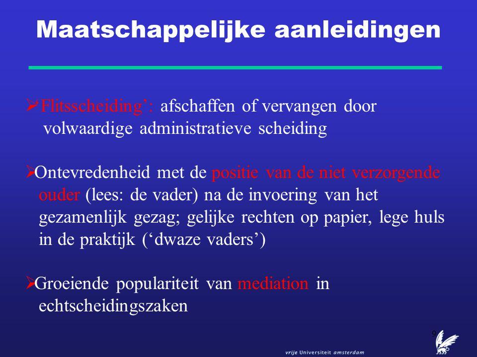 10 Politiek: het debat over scheidings- en omgangsproblematiek  2003: de Tweede Kamer neemt een motie van Schonewille aan: binnen drie maanden onderzoek naar de mogelijke invoering van een administratieve scheiding  Afwijzende houding minister Donner: 'ook als de rechter aan het einde van het proces een formaliteit is, moet hij daar desondanks blijven staan'  2004: PvdA notitie 'Ouder blijf je'