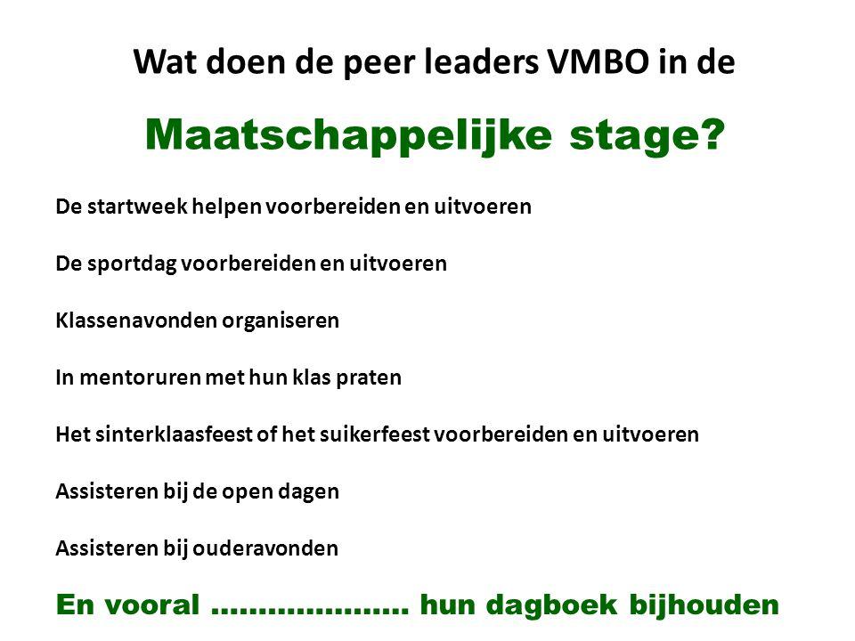 Wat doen de peer leaders VMBO in de Maatschappelijke stage? De startweek helpen voorbereiden en uitvoeren De sportdag voorbereiden en uitvoeren Klasse
