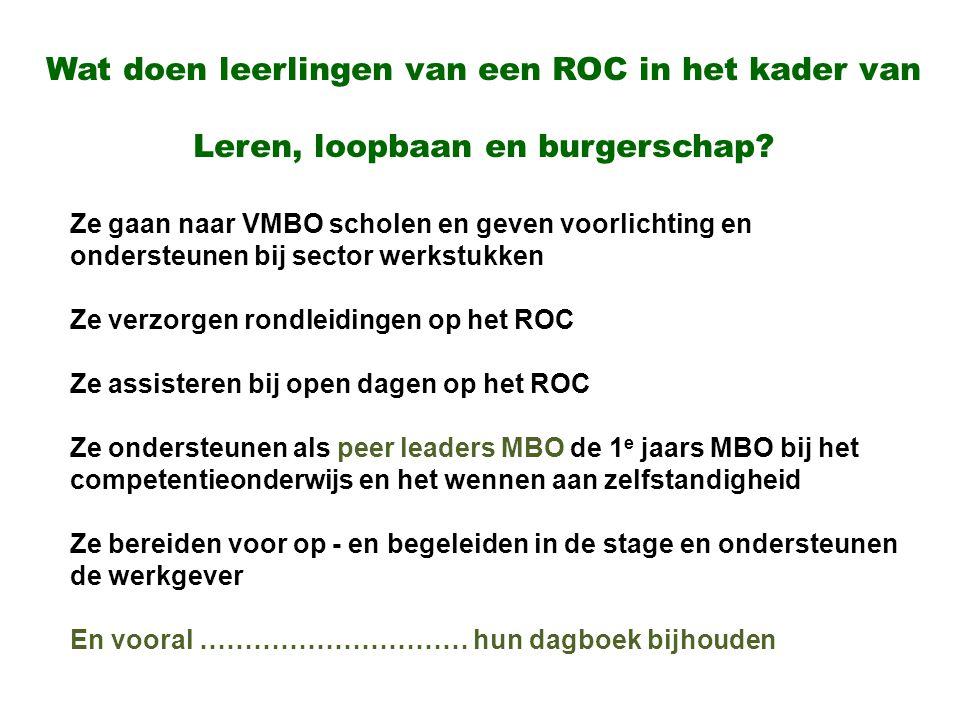 Wat doen leerlingen van een ROC in het kader van Leren, loopbaan en burgerschap? Ze gaan naar VMBO scholen en geven voorlichting en ondersteunen bij s