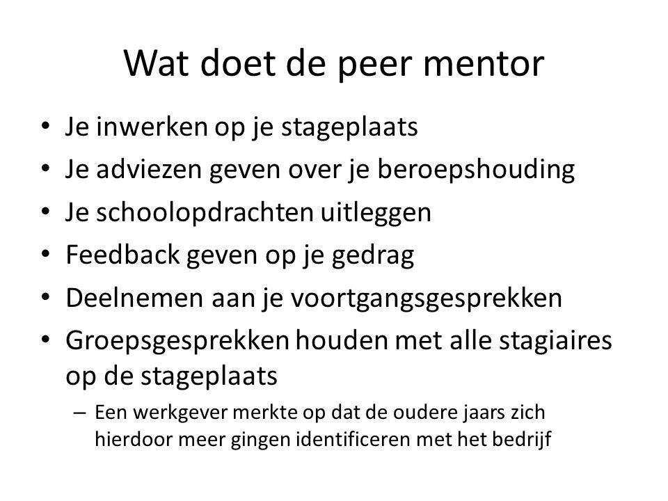 Wat doet de peer mentor • Je inwerken op je stageplaats • Je adviezen geven over je beroepshouding • Je schoolopdrachten uitleggen • Feedback geven op