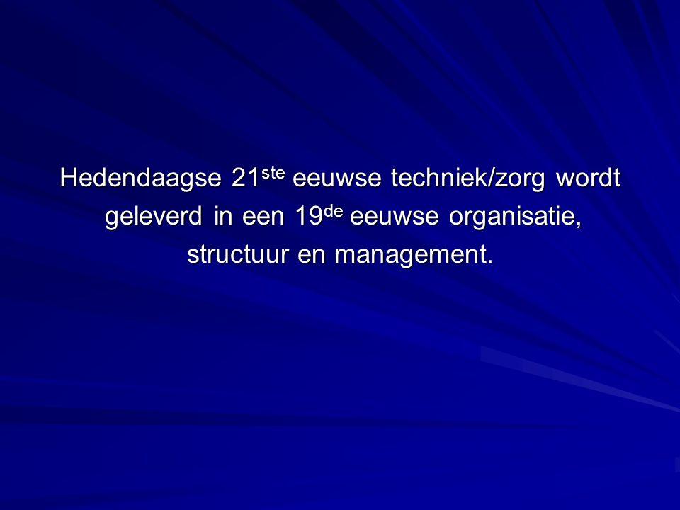 Hedendaagse 21 ste eeuwse techniek/zorg wordt geleverd in een 19 de eeuwse organisatie, geleverd in een 19 de eeuwse organisatie, structuur en management.