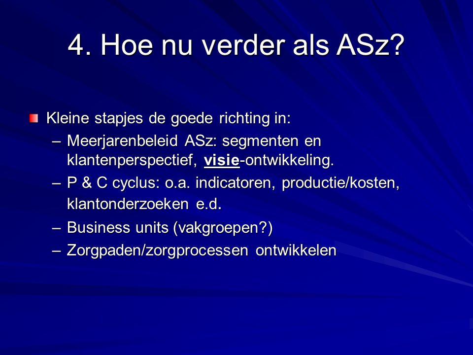 4. Hoe nu verder als ASz? Kleine stapjes de goede richting in: –Meerjarenbeleid ASz: segmenten en klantenperspectief, visie-ontwikkeling. –P & C cyclu