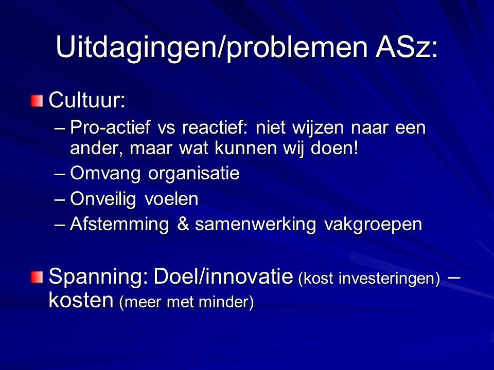 Uitdagingen/problemen ASz: Cultuur: –Pro-actief vs reactief: niet wijzen naar een ander, maar wat kunnen wij doen! –Omvang organisatie –Onveilig voele
