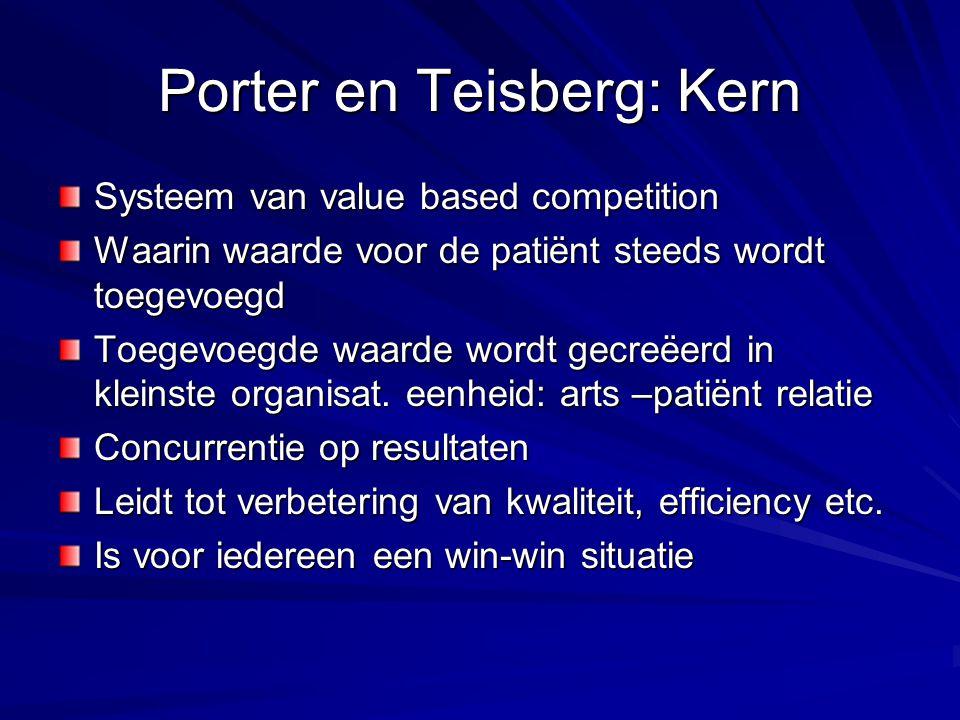 Porter en Teisberg: Kern Systeem van value based competition Waarin waarde voor de patiënt steeds wordt toegevoegd Toegevoegde waarde wordt gecreëerd in kleinste organisat.