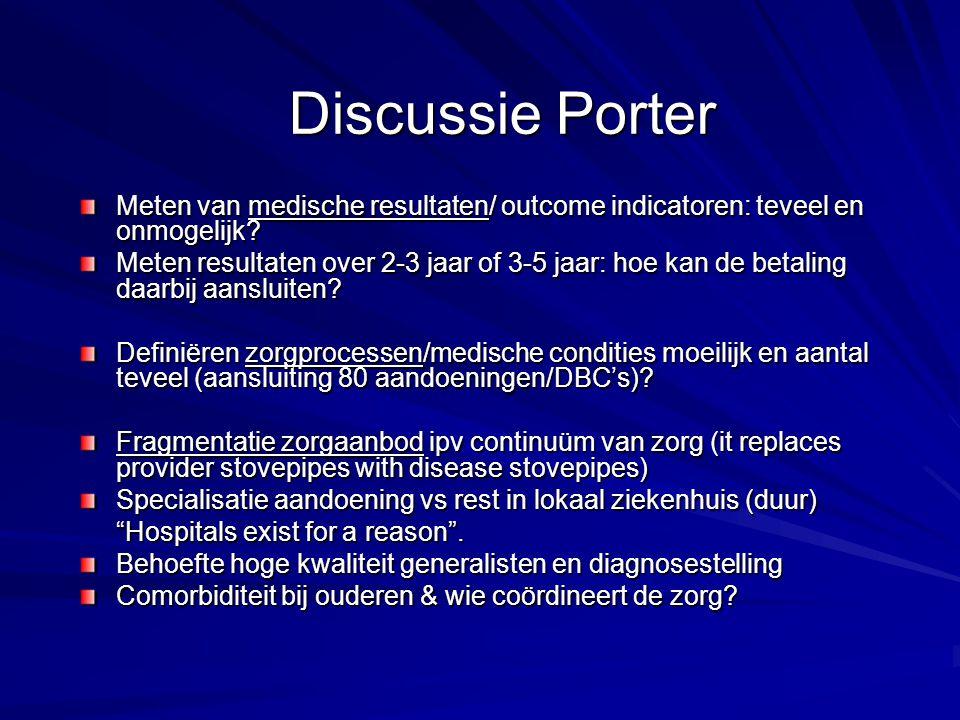 Discussie Porter Meten van medische resultaten/ outcome indicatoren: teveel en onmogelijk? Meten resultaten over 2-3 jaar of 3-5 jaar: hoe kan de beta
