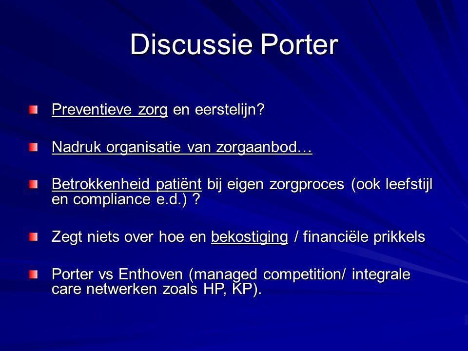 Discussie Porter Preventieve zorg en eerstelijn? Nadruk organisatie van zorgaanbod… Betrokkenheid patiënt bij eigen zorgproces (ook leefstijl en compl