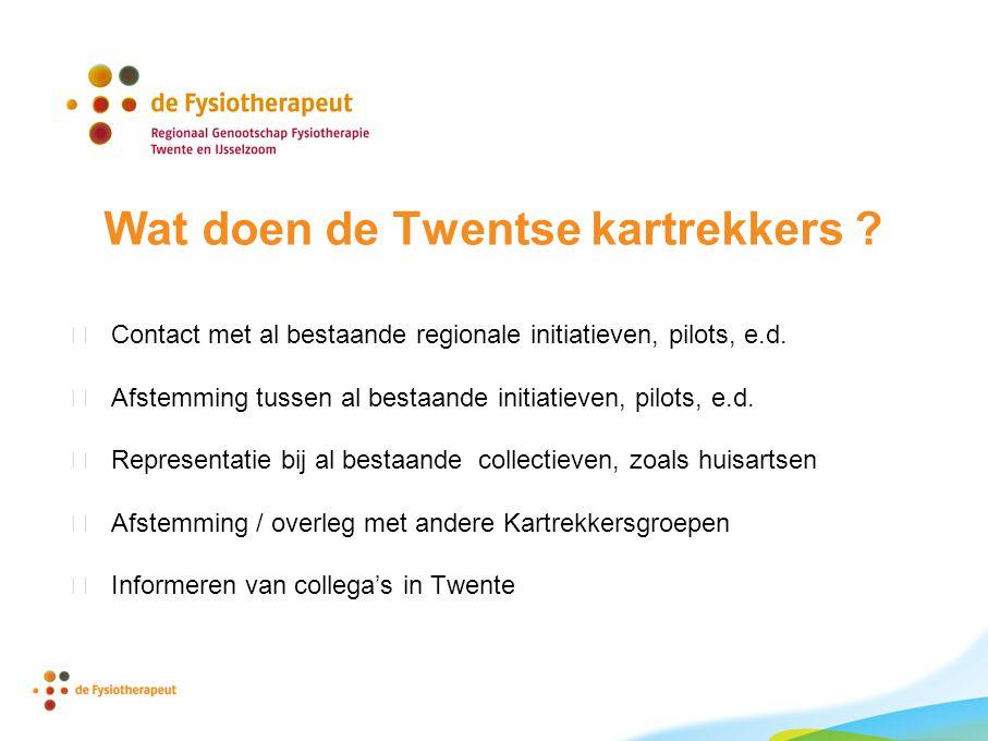 Wat doen de Twentse kartrekkers .  Contact met al bestaande regionale initiatieven, pilots, e.d.