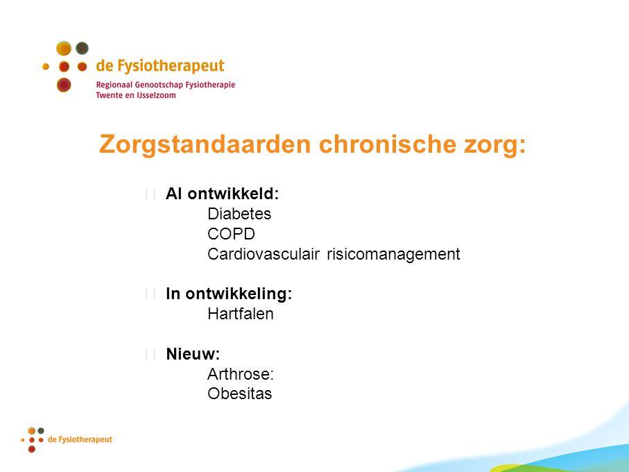 Zorgstandaarden chronische zorg:  Al ontwikkeld: Diabetes COPD Cardiovasculair risicomanagement  In ontwikkeling: Hartfalen  Nieuw: Arthrose: Obesitas