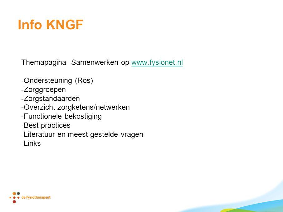 Info KNGF Themapagina Samenwerken op www.fysionet.nlwww.fysionet.nl -Ondersteuning (Ros) -Zorggroepen -Zorgstandaarden -Overzicht zorgketens/netwerken -Functionele bekostiging -Best practices -Literatuur en meest gestelde vragen -Links